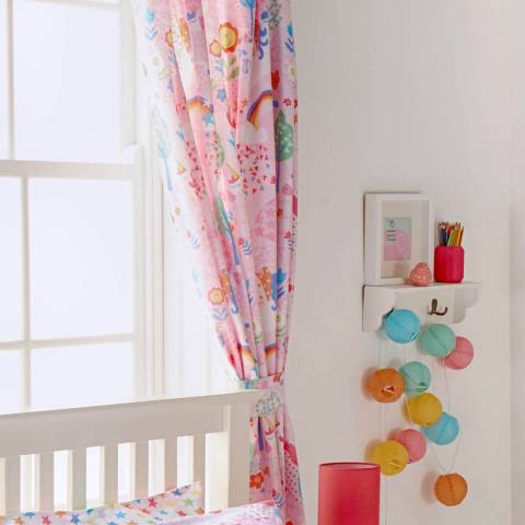 Paoletti Unicorn Pair of 168x183cm Curtains, Pink