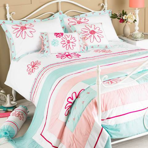Paoletti Harriet Double Duvet Cover Set, Duck Egg/Pink