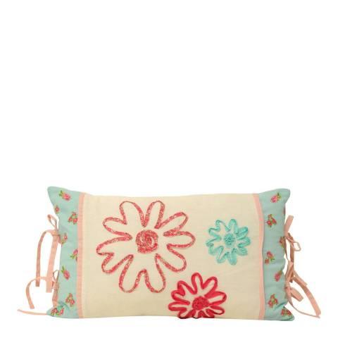 Paoletti Harriet 30x50cm Cushion, Duck Egg/Pink