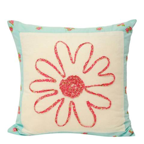 Paoletti Harriet 45x45cm Cushion, Duck Egg/Pink