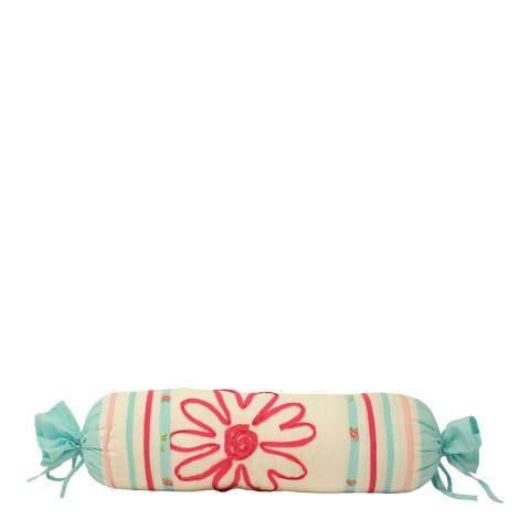 Paoletti Harriet Bolster Cushion, Duck Egg/Pink