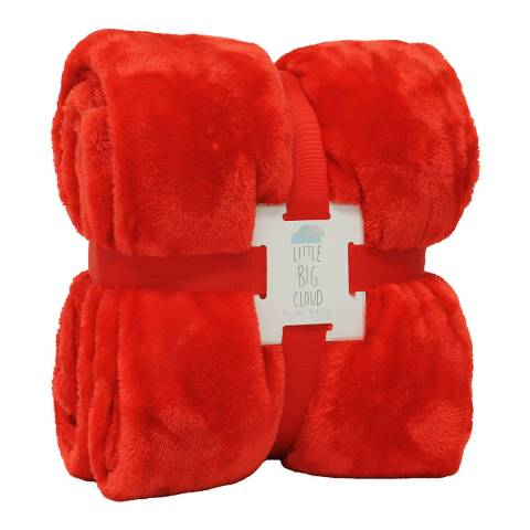 Paoletti Little Big Cloud Plush Throw, Red
