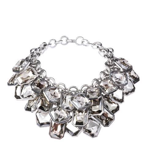 Simon Harrison Silver Shade Aquitaine 3 Row Crystal Octant Drop Necklace