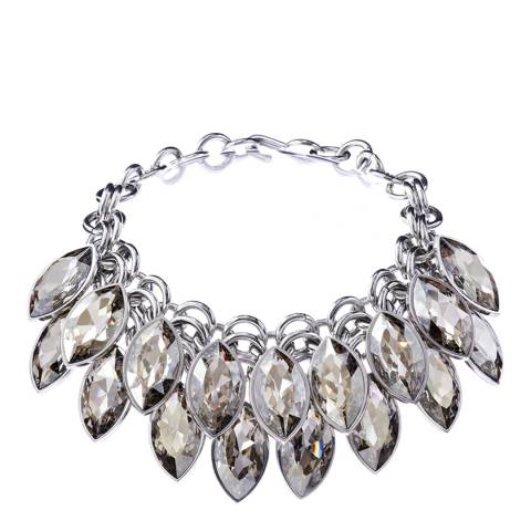 Simon Harrison Silver Shade Aquitaine 2 Row Crystal Navette Drop Necklace