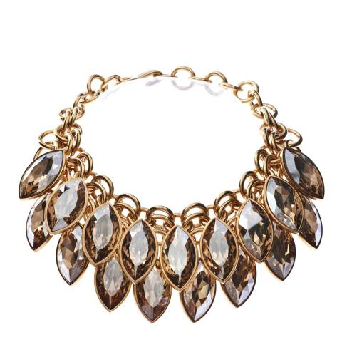 Simon Harrison Gold Shadow Aquitaine 2 Row Crystal Navette Drop Necklace
