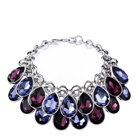 Simon Harrison Blue/Purple Aquitaine 2 Row Crystal Pear Drop Necklace