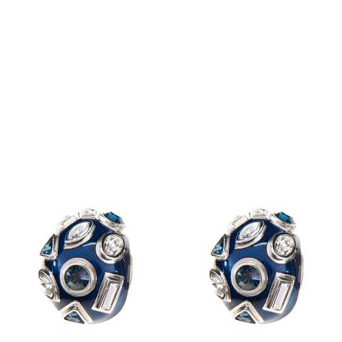 Simon Harrison Blue Galaxy Crystal & Enamel Hoop Earrings