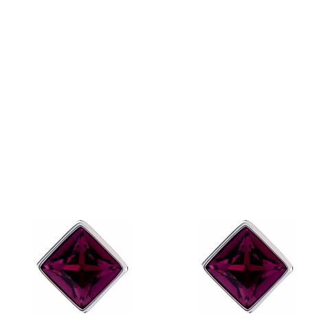 Simon Harrison Red Amethyst/Silver Claudette Square Crystal Stud Earrings