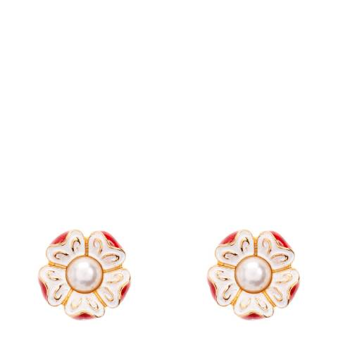 Simon Harrison Red/Gold Tudor Rose Stud Earrings