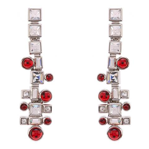 Simon Harrison Red Ella Glass Cabochon And Crystal Drop Earrings
