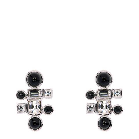 Simon Harrison Black Ella Glass Cabochon And Crystal Stud Earrings