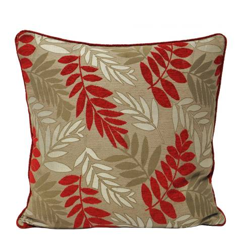 Paoletti Red Fern Feather Cushion 55x55cm