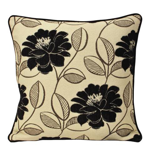 Paoletti Black Mayflower Feather Cushion 55x55cm