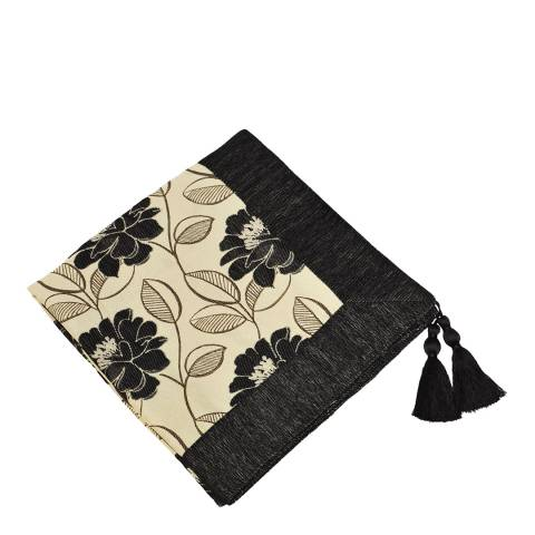 Paoletti Black Mayflower Throw 145x180cm
