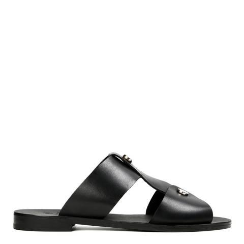 H by Hudson Women's Black Leather Aponi Sandal