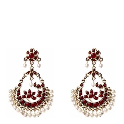 Amrita Singh Ruby Crystal/Pearl Earrings
