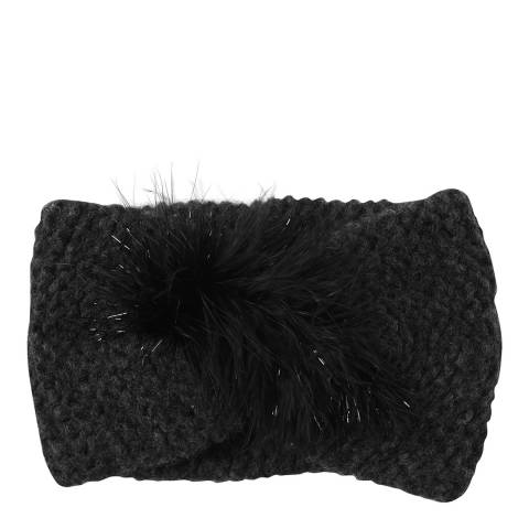 Laycuna London Black Feather Trim Cashmere Blend Head Band