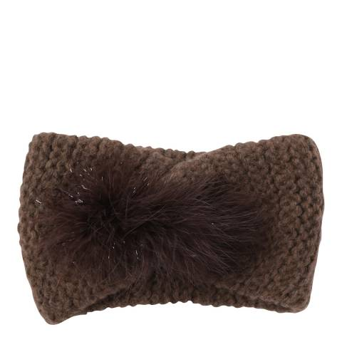Laycuna London Choc Feather Trim Cashmere Blend Head Band