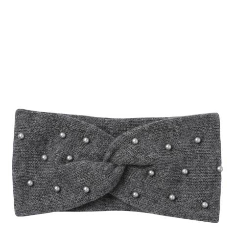 Laycuna London  Grey Beaded Cashmere Blend Head Band