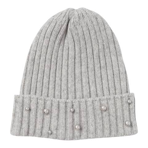 Laycuna London Grey Beaded Wool Blend Hat