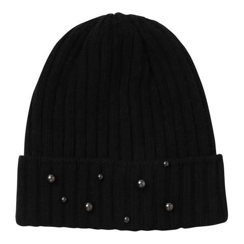 Laycuna London Black Beaded Wool Blend Hat