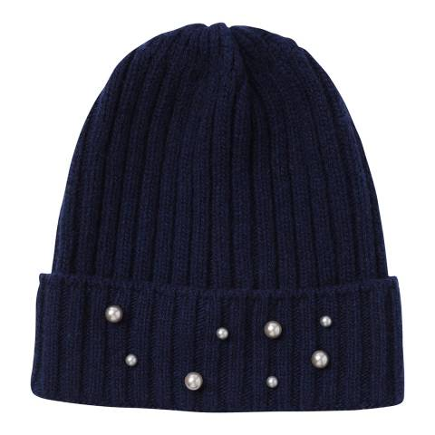Laycuna London Navy Beaded Wool Blend Hat