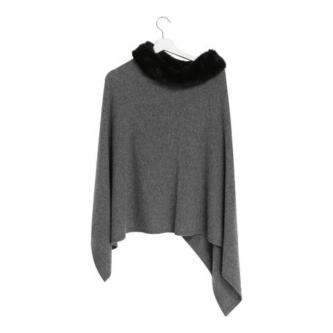 Laycuna London Grey Cashmere Blend Collar Poncho