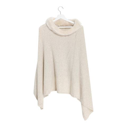 Laycuna London Winter White Cashmere Blend Collar Poncho