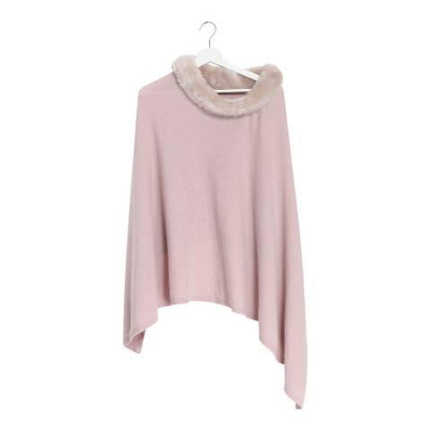 Laycuna London  Pink Cashmere Blend Collar Poncho