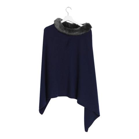 Laycuna London Navy Cashmere Blend Collar Poncho