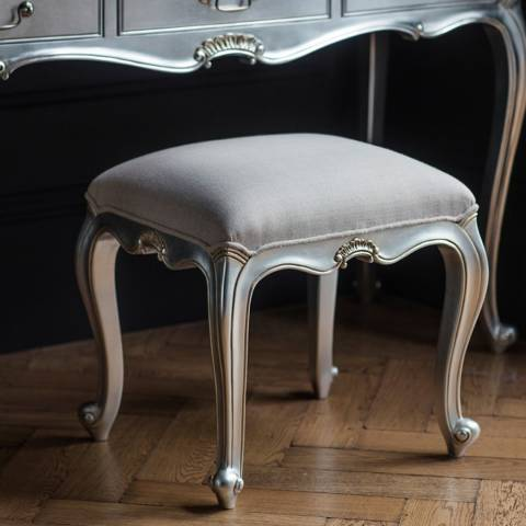 Gallery Chic Dressing Stool Silver