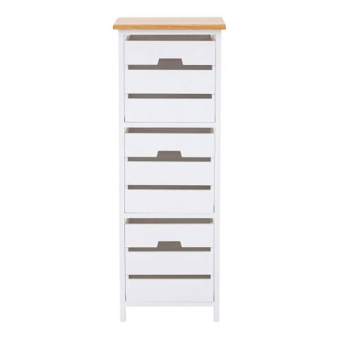 Premier Housewares Newport 3 Drawer Chest, Natural Top, White Frame