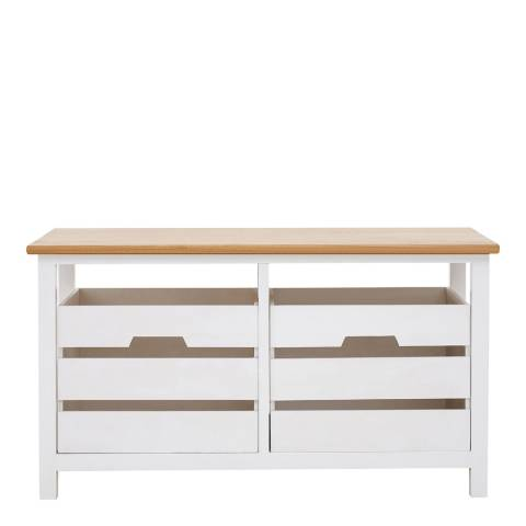Premier Housewares Newport 2 Drawer Bench, Natural Top, White Frame