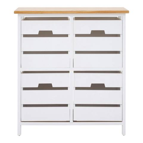 Premier Housewares Newport 4 Drawer Chest, Natural top, White frame
