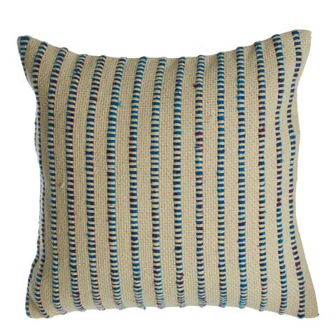 Premier Housewares Bosie Cushion, Woven Cotton, Stripe / Indigo Blue
