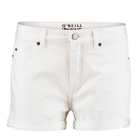 O'Neill White Cotton Boyfriend Shorts
