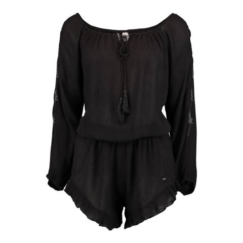 O'Neill Black Embroidered Long sleeve Playsuit