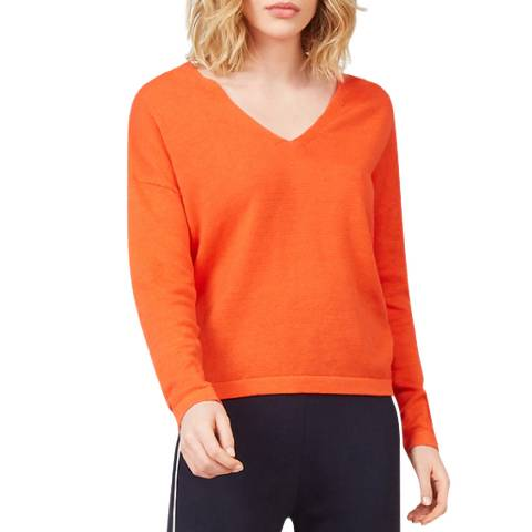 Rodier Orange V- Neck Cotton Jumper