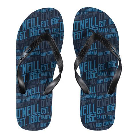 O'Neill Black/Blue Profile Pattern Flip Flops
