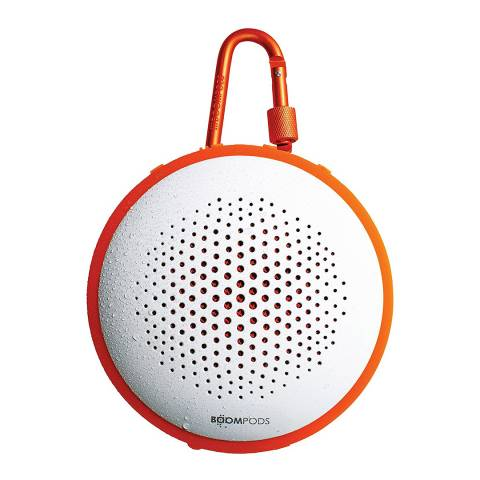 Boompods White/Orange Bluetooth Multi Function Waterproof Portable Speaker