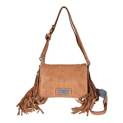 Prada Camel Fringed Etiquette Crossbody Bag