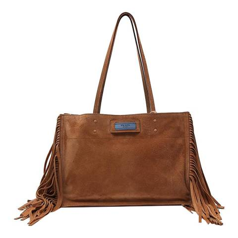 Prada Camel Fringed Etiquette Bag