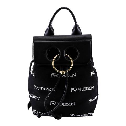 JW Anderson Black Mini Pierce Logo Backpack