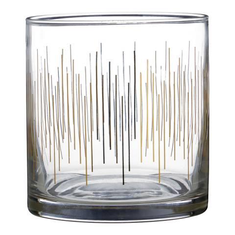 Premier Housewares Set of 4 Gold Deco Tumbler Glasses, 375ml