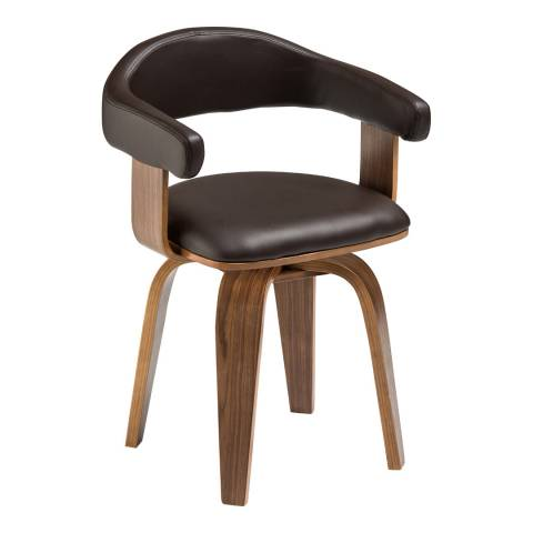 Premier Housewares Bentwood Brown Leather Effect Chair