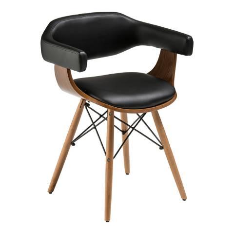 Premier Housewares Black Leather Effect Beech Wood Legs Chair