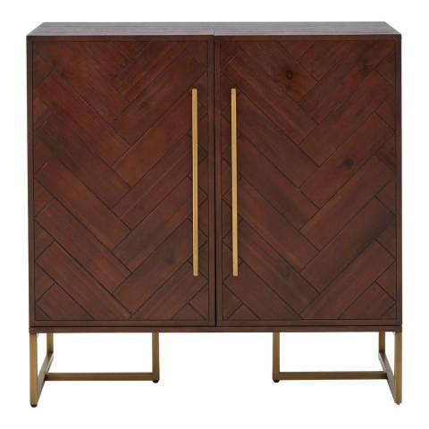 Premier Housewares Brando Drink Cabinet, Brown/Gold