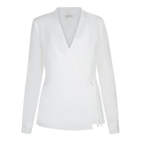 Hobbs London White Cecily Wrap Blouse
