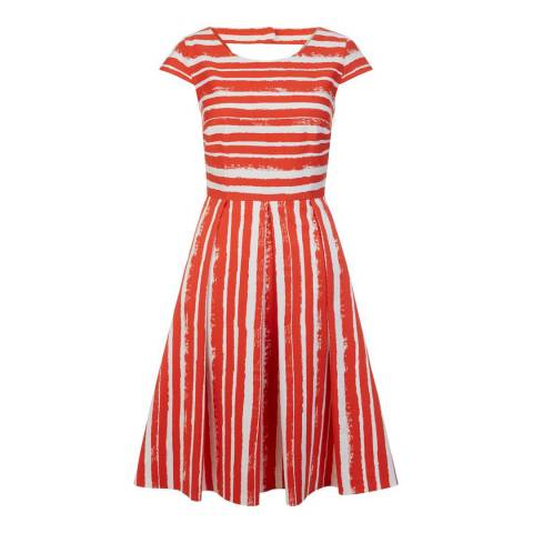 Hobbs London Flame Orange Stripe Katerina Dress