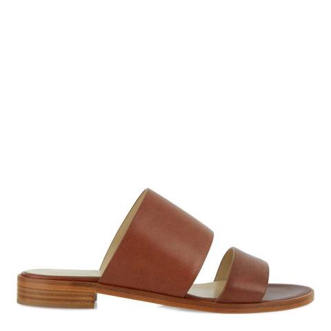 Hobbs London Tan Leather Holly Double Strap Sliders